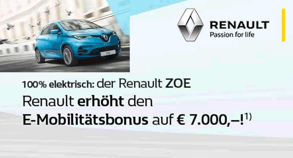 Renault erhöht den E-Mobilitätsbonus auf € 7.000,-